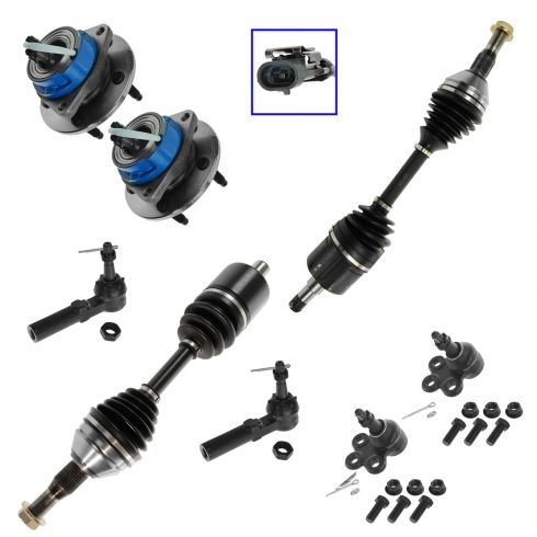 7-09 GM Mid Size Car SUV FWD Front Axle Shaft, Outer Tie Rod, Lower Ball Joint & Wheel Hub Kit