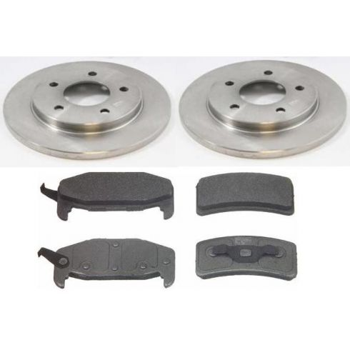 1988-94 GM FWD Mid Size Rear Disc Brake Rotor Kit w/Semi-Metallic Pads