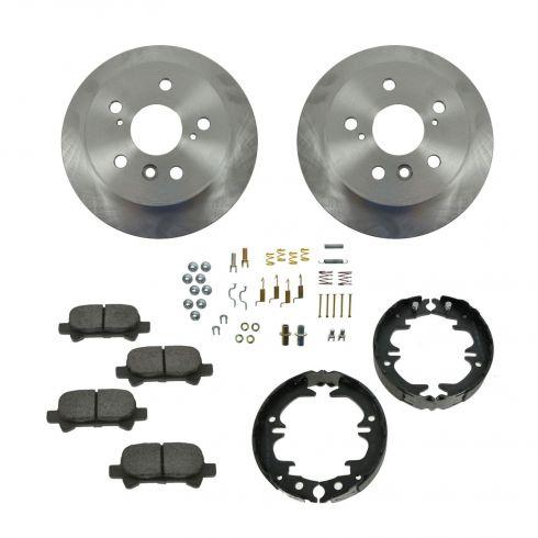 Brake Pad & Rotor Kit CERAMIC with Parking Brake Shoes & Hardware