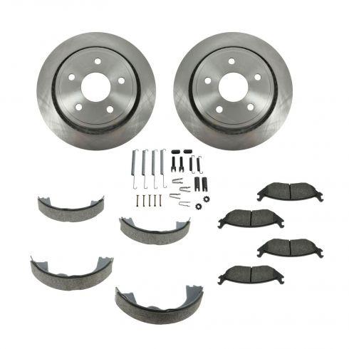 Brake Pad & Rotor Kit SEMI-METALLIC with Parking Brake Shoes & Hardware