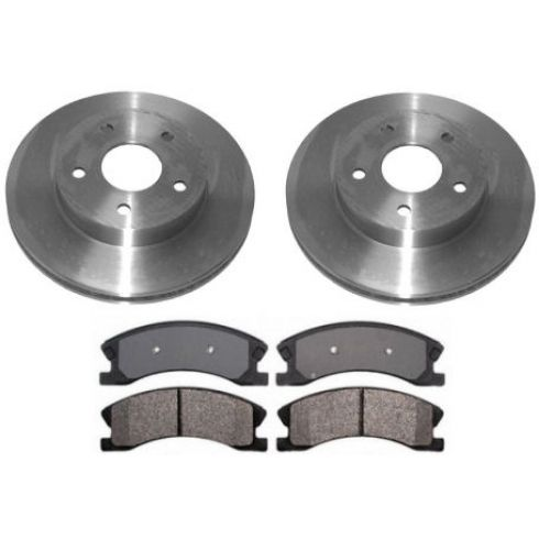 1999-04 Jeep Grand Cherokee Brake Pad & Rotor Kit Front for Akebono Calipers (Silver)