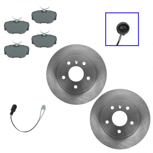 84-91 BMW 3 Series Front Brake Rotor & Metallic Pads with Sensor Set