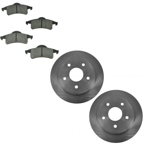 99-04 Jeep Grand Cherokee Rear Metallic Disc Brake Pads & Rotors Set