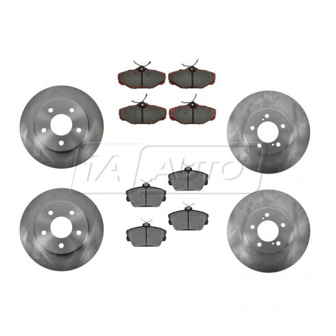 93-97 Ford Thunderbird, Mercury Cougar; 93-98 Lincoln Mark VIII Fr &  Rr Ceramic Pads & Rotors Set