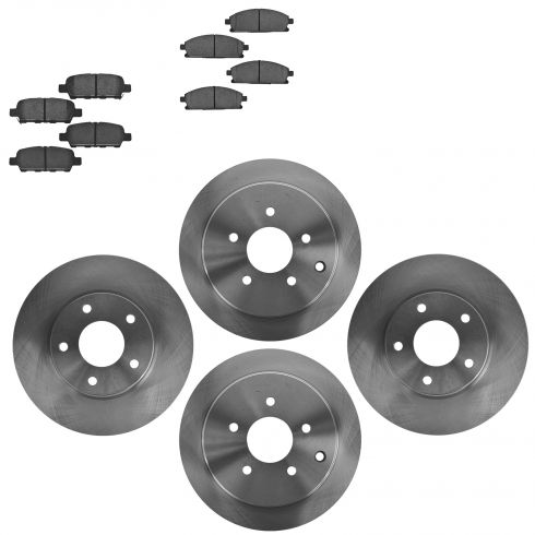04-09 Nissan Quest Front & Rear Ceramic Brake Pads & Rotors Set