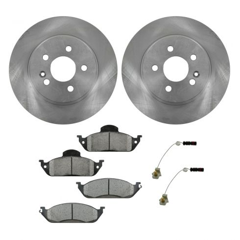 98-03 ML320; 03-05 ML350; 99 ML430 Front Metallic Brake Pads & Rotors Set with Sensors