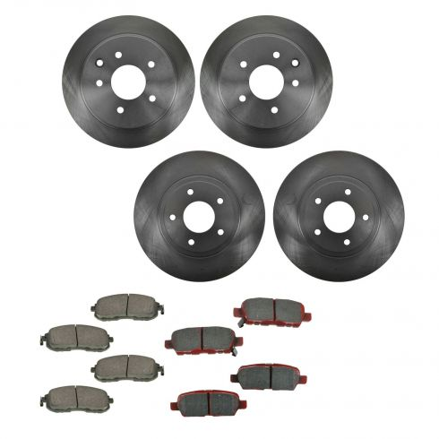 02-06 Nissan Altima 3.5L (exc SE-R) Front & Rear Brake Pad & Rotor Kit CERAMIC