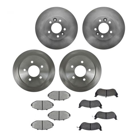 98-02 Crown Vic, Grand Marquis, Town Car Front & Rear METALLIC Brake Pad & Rotor Kit (1-3/4