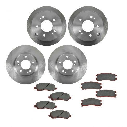 06-08 Mitsubishi Eclipse 2.4L; 04-06 Galant 3.8L Front & Rear CERAMIC Brake Pad & Rotor Kit