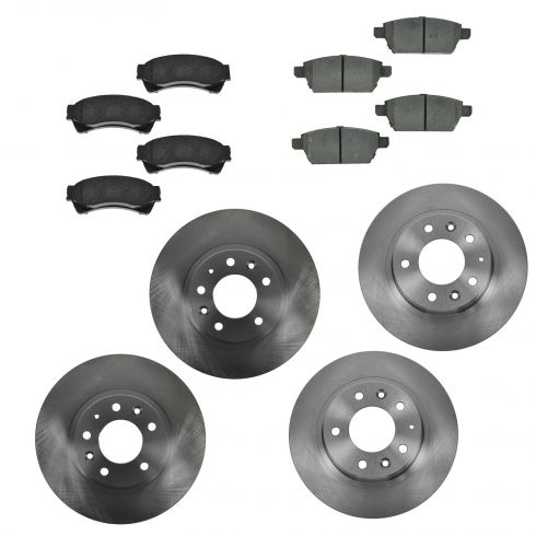 06-12 Fusion, Hybrid; 07-12 MKZ; 06 Zephyr; 06-12 6; 06-11 Milan Frt &Rr CERAMIC Brake Pad/Rotor Kit