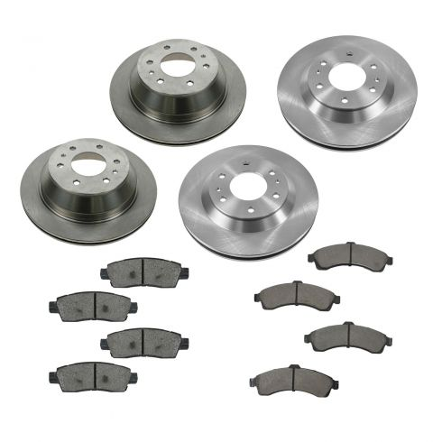 04-05 Ranier; 02-05 Trailblazer, Envoy; 03-05 Ascender Front & Rear METALLIC Brake Pad & Rotor Kit
