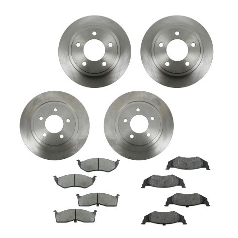 99-04 Chrysler 300M; 99-01 LHS; 98-04 Concorde, Intrepid Front & Rear METALLIC Brake Pad & Rotor Kit