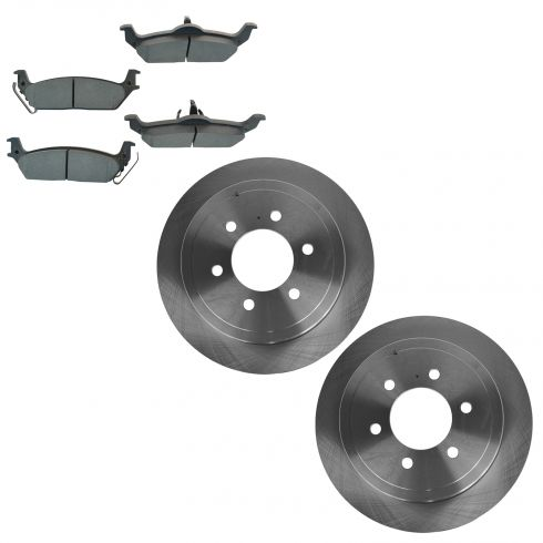 04-10 Ford F150; 06-08 Lincoln Mark LT Rear METALLIC Brake Pad & 6 Lug Rotor Kit