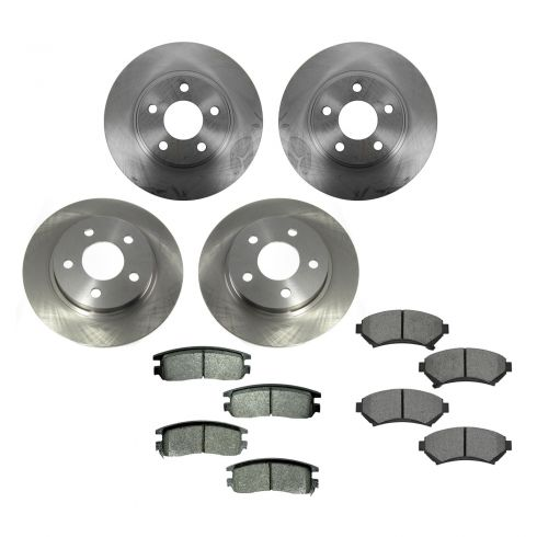 00-04 Buick, Cadillac, Olds, Pontiac Multifit Front & Rear METALLIC Brake Pad & Rotor Kit