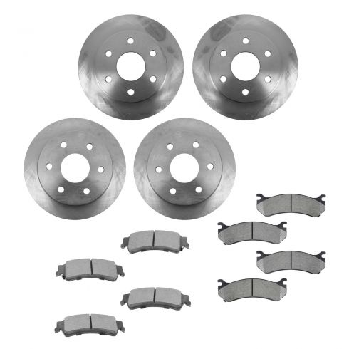 99-05 Cadillac, Chevy, GMC Pickup SUV Van Front & Rear METALLIC Brake Pad & Rotor Kit