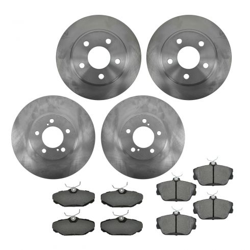01-07 Taurus; 96-99 SHO; 95-02 Continental; 01-05 Sable Front & Rear METALLIC Brake Pad & Rotor Kit