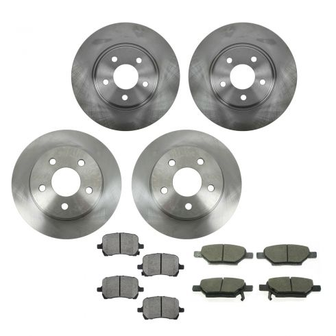 04-10 Chevy, Pontiac, Saturn Multifit Front & Rear CERAMIC Brake Pad & Rotor Kit