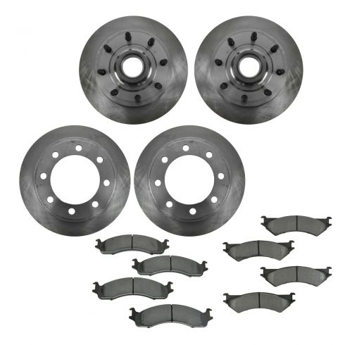 99-07 Ford E250, E350 SRW w/4 Wheel ABS Front & Rear METALLIC Brake Pad & Rotor Kit