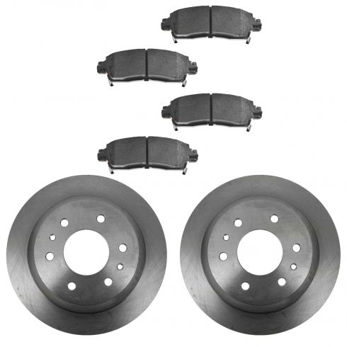 2002-09 Trailblazer Envoy Ascender Rainier Rear Ceramic Brake Pad & Rotor Kit