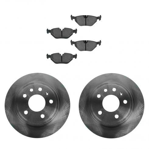 99-09 Saab 9-5 286mm Solid Rear Disc Brake Rotor & Metallic Pad Set