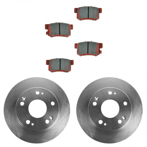 03-04 Honda Accord; 05-07 Accord (exc Hybrid); 04-08 Acura TSX Rear CERAMIC Brake Pad & Rotor Kit