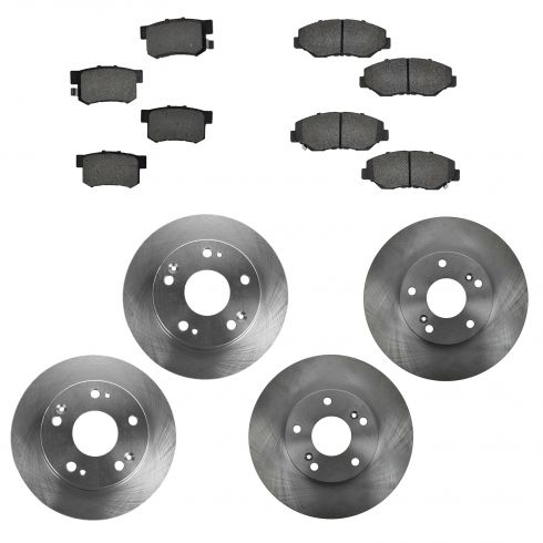03-07 Honda Accord 2.4L Front & Rear METALLIC Disc Brake Pad & Rotor Kit