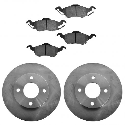 2000-04 Ford Focus (exc SVT) Front Brake Rotor & CERAMIC Pads Kit