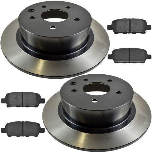 02-13 Altima; 07-11 Altima H; 04-08 Maxima; 07-12 Sentra Rr Posi Ceramic Pads & E-Coated Rotor Set