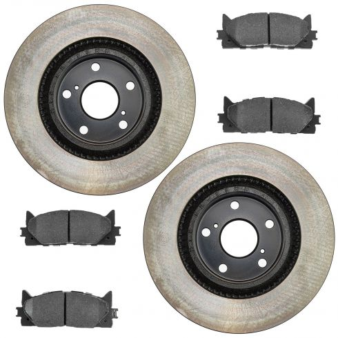 13 ES300h; 07-13 ES350; 08-13 Avalon; 07-13 Camry Fr Posi Ceramic Pads & E-Coated Rotor Set