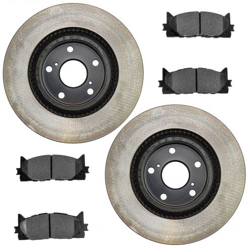 13 ES300h; 07-13 ES350; 08-13 Avalon; 07-13 Camry Fr Posi Semi Met Pads & E-Coated Rotor Set