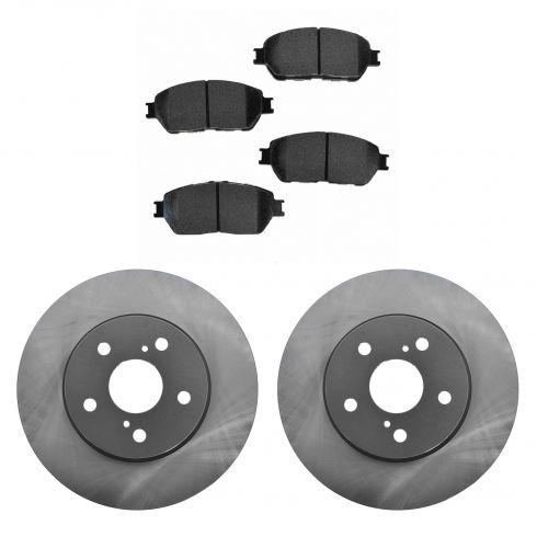 02-03 ES300; 04-06 ES330; 04-10 Sienna; 05-06 Camry V6 Fr Posi Semi Met Pads & E-Coated Rotor Set