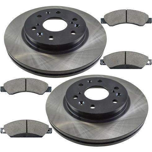 07 Avalanche; 07 Suburban; 05-07 Silverado 6Lug Fr Posi Ceramic Pads & ECoated Rotor Set