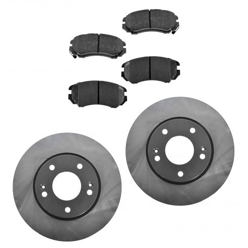 05-10 Sportage; 06-10 Optima; 06-10 Sonata L4 Front Posi Ceramic Pads & E-Coated Rotor Set