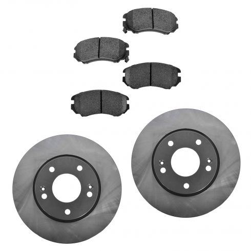 05-10 Sportage; 06-10 Optima; 06-10 Sonata L4 Front Posi Semi Metallic Pads & E-Coated Rotor Set
