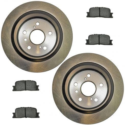 02-03 ES300; 04-06 ES330; 02-06 Camry Vin J Rear Posi Semi Metallic Pads & E-Coated Rotor Set