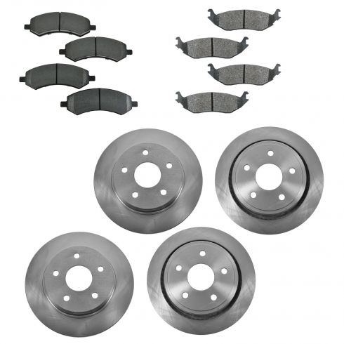 07-09 Chrysler Aspen; 07-09 Dodge Durango; 09-13 Ram 1500 Front & Rear METALLIC Brake Pad/Rotor Kit