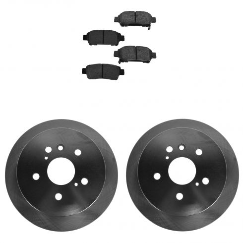 04-10 Toyota Sienna Rear SEMI-METALLIC Brake Pad & Rotor Kit