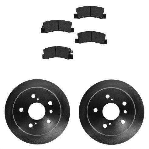 Rear Semi-Metallic Disc Brake Pads (MD325) & 2 Rotor Kit Toyota Solara