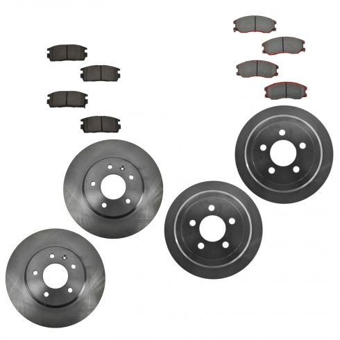 07-09 Equinox, Torrent, XL7; 08-10 Vue; 08-09 Vue Hybrid Front & Rear CERAMIC Brake Pad & Rotor Kit