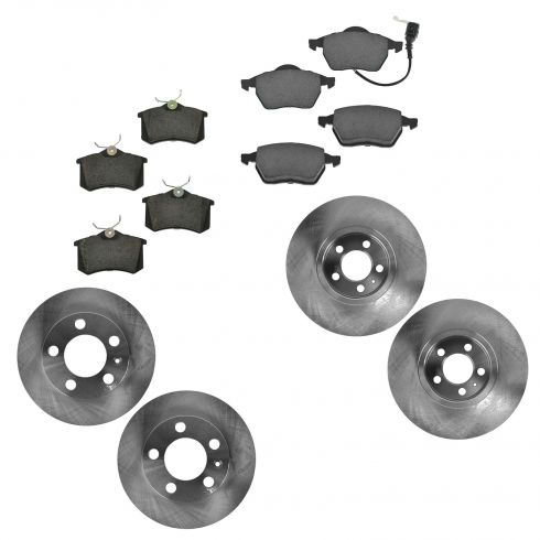 99-10 Beetle; 00-06 Golf; 00-05 Jetta Front & Rear Ceramic Brake Pad & Rotor Kit
