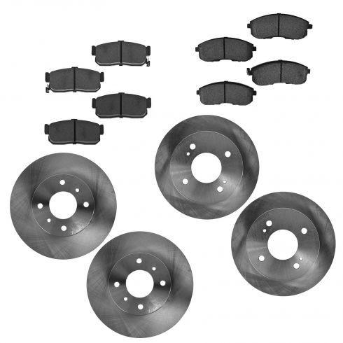 93-01 Altima; 00-01 Sentra Front & Rear Semi Metallic Brake Pad & Rotor Set