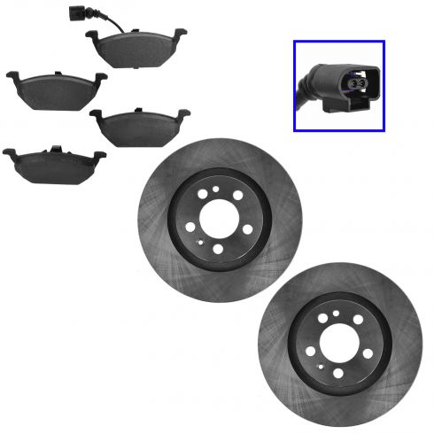 Front Semi-Metallic Disc Brake Rotor &  Pads w/Female Oval Sensor Kit
