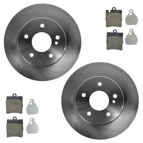 96-07 MB C; 99-09 CLK; 96-02 E; 05-11 SLK Series Rear Disc Brake Rotor & Ceramic Pad Set