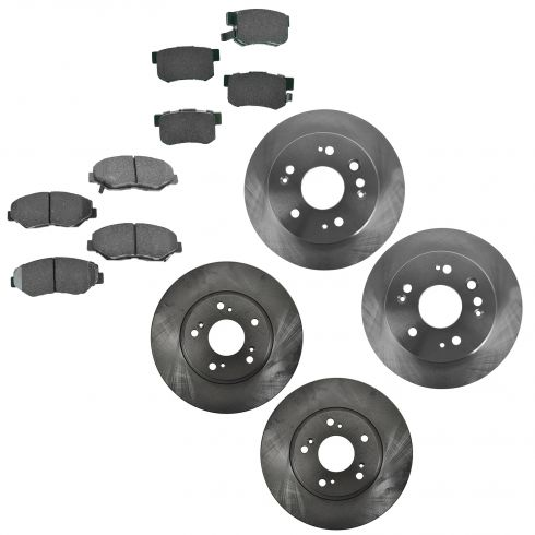 02-04 Honda CR-V Front & Rear Disc Brake Rotors with Premium Posi Ceramic Pads