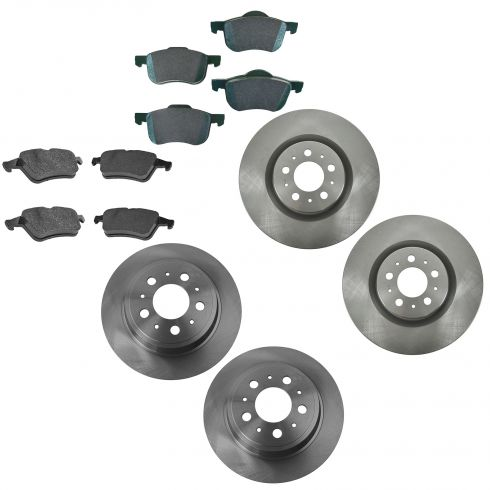 01-09 S60; 99-06 S80; 01-07 V70 Front & Rear Ceramic Brake Pad & Rotor Kit