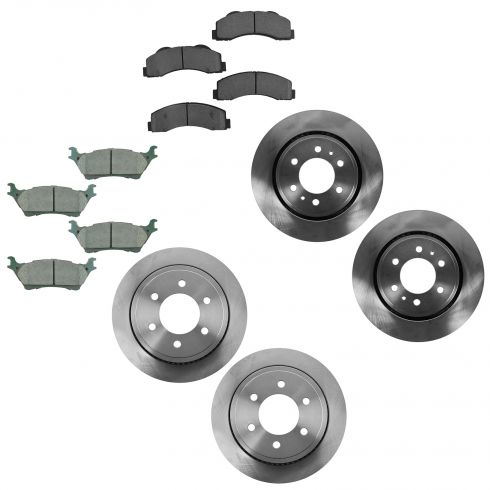 12-15 Ford F150 Front & Rear Disc Brake Rotor w/ Premium Posi Ceramic Pad Set