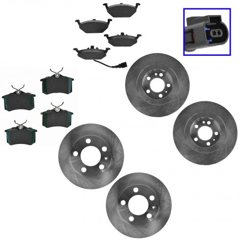 00-07 Beetle; 02-06 Golf; 99-06 Jetta Front & Rear Brake Ceramic Pad & Rotor Kit