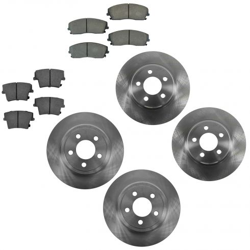 05-12 300; 09-12 Challenger; 06-12 Charger; 05-08 Magnum Front & Rear Ceramic Brake Pad & Rotor