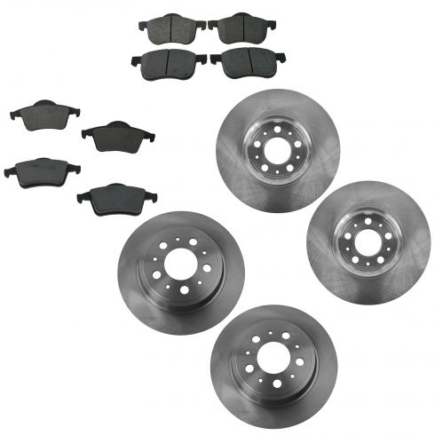 01-09 S60; 99-06 S80; 01-07 V70 Front & Rear Brake Rotor & Ceramic Pad Set