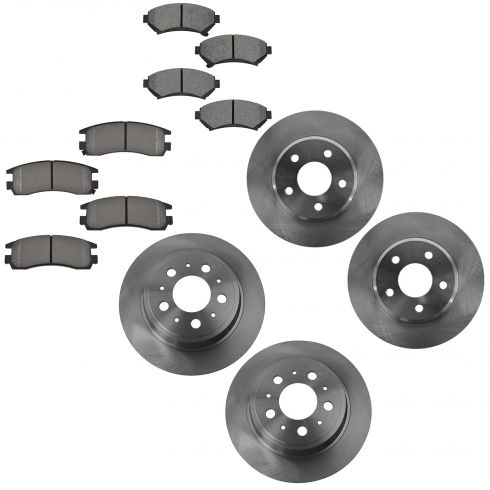05 Lesabre, 04-05 Bonneville Front Rear Brake Rotor & Semi-Metallic Pad Kit